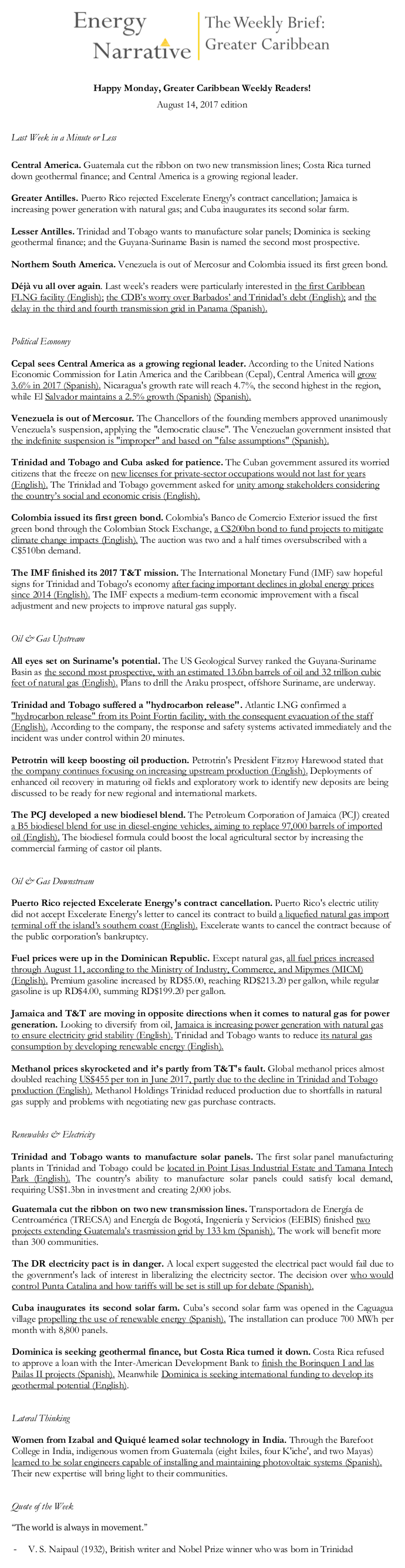 A sample of the August 14, 2017 edition of the Weekly Brief: Greater Caribbean
